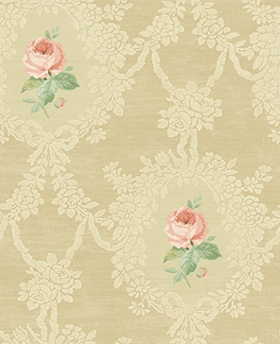 Mayflower Wallpaper Cameo Rose Gold Nude Taupe French Country - French Cameo
