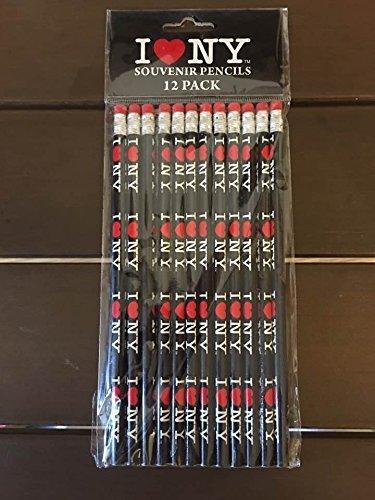 Licensed I Love NY Pencils 12 Pack (Black)