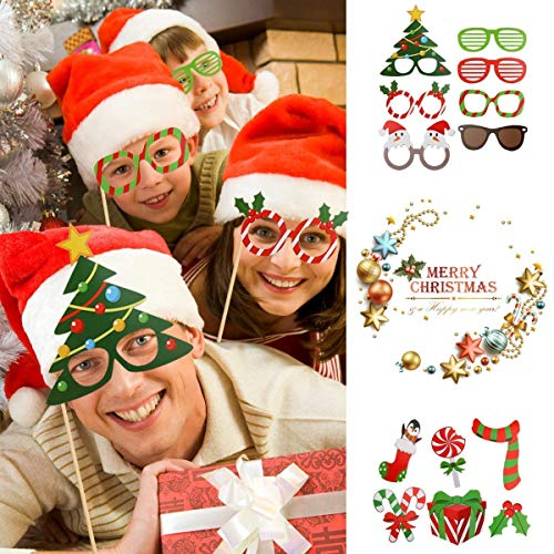VANVENE Christmas Photo Booth Props Kit(32Pcs), DIY Christmas Photo Booth with Stick Funny Xmas Selfie Props Accessories for Adults Kids for Christmas Theme Party Favors Decorations Decor Supplies