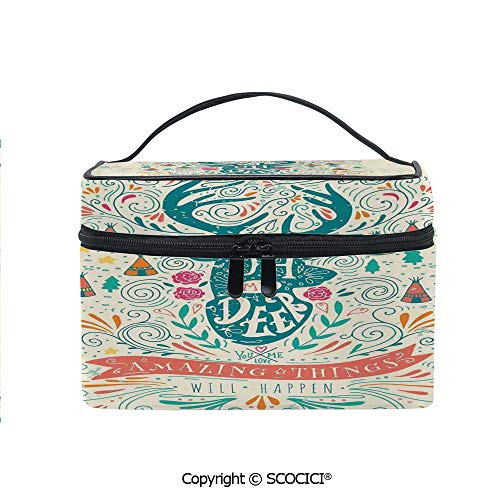 Lightweight Cosmetic Travel Bag Beauty Toiletry Bag Reindeer with Antlers with Native American Tribal Element and Flowers Motivational Portable Multi-function Organizer