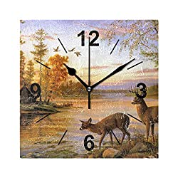 NOAON Wall Clock Square 8x8 Inches Silent Deer Steam Forest Decorative for Home Office School Bedroom