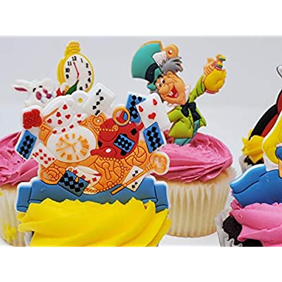 Alice in Wonderland Birthday Cupcake Cake Party Favor Set Featuring Alice and Friends: Toys & Games