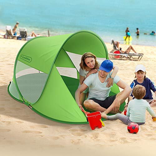 multifun UPF 50+ Easy Pop Up Beach Tent, Large 3-4 Person Sun Shelter, Instant Sunshade, Waterproof Portable Beach Shade, Windproof Sport Umbrella, Easy Setup, Picnics, Hiking, Camping, Fishing