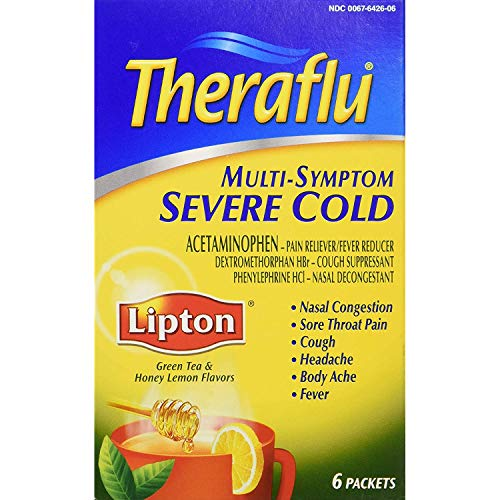 Theraflu Multi-Symptom Severe Cold Powder Packets Lipton Green Tea & Honey Lemon Flavors - 6 ct, Pack of 3
