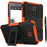 Tab A 7.0 Cover 2016 Release DWaybox 2in1 Combo Hybrid Rugged Heavy Duty Back Case Cover with Kickstand for Samsung Galaxy Tab A 7 Inch 2016 SM-T280 / T285 / Samsung Tab A6 A7 7.0' (Orange)