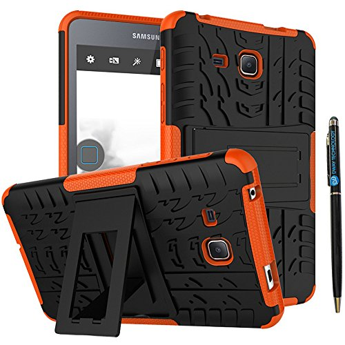 Tab A 7.0 Cover 2016 Release DWaybox 2in1 Combo Hybrid Rugged Heavy Duty Back Case Cover with Kickstand for Samsung Galaxy Tab A 7 Inch 2016 SM-T280 / T285 / Samsung Tab A6 A7 7.0 (Orange)
