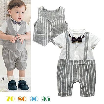 9781b088b6639 赤ちゃん・ベビー服 紳士風スーツ ロンパースとベスト2点セット 蝶ネクタイ付き 夏