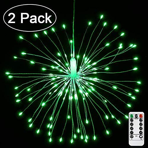 Joomer 2 Pack Christmas Decoration Lights, 8 Modes 120 LED Dimmable Fairy Lights, Twinkle Starburst Lights, Waterproof Battery Operated with Remote Control for Home, Patio, Parties, Wedding(Green)