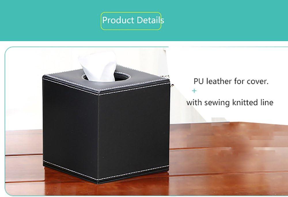 color Black Woven Nuevo cuadrado papel en rollo Facial de Piel Sint/ética Caja de pa/ñuelos funda soporte para oficina en casa coche