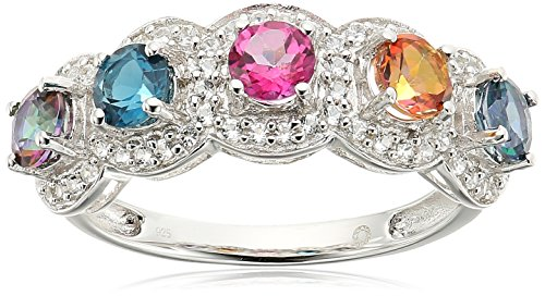 Multi Stone Band (Sterling Silver Multi Topaz 5-Stone Band Stackable Ring, Size 7)