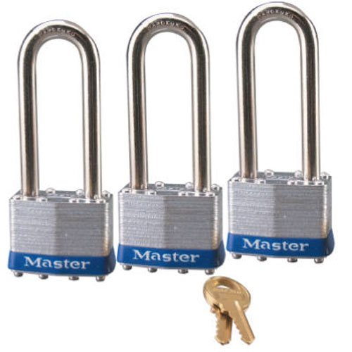 Shackle Laminated Steel Padlock - Master Lock Padlock, Laminated Steel Lock, 1-3/4 in. Wide, 1TRILJ (Pack of 3-Keyed Alike)