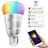 WiFi Smart Bulb Multicolored LED Lamp Dimmable Light 60W Equivalent, RGBW Colour Changing, Timing Function, Smartphone Remote Control, Voice Control by Amazon Alexa and Google Home,No Hub Required 7W E27