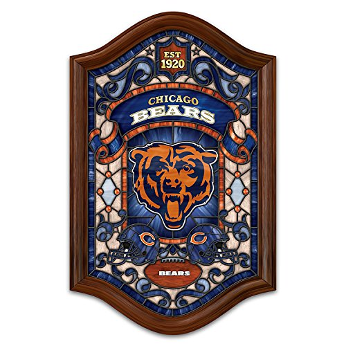 Stained Glass Chicago Nfl Bears - Officially Licensed NFL Chicago Bears Stained Glass Wall Decor Lights Up by The Bradford Exchange