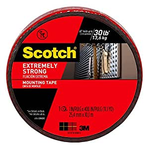 Scotch Extreme Mounting Tape, 1-inch X 400-inches, Black, 1-Roll (414-LONGDC)