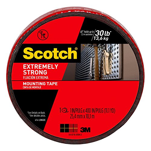 Foam 2 Side Tape - Scotch Extreme Mounting Tape, 1-inch X 400-inches, Black, 1-Roll (414-LONGDC) - 414-LONG/DC