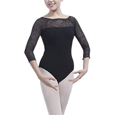 b091ccb24 Gymnastics Leotard Dancewear Long Sleeve Dance Ballet Women Sexy Lace  Costumes Woman Professional Adult Black S