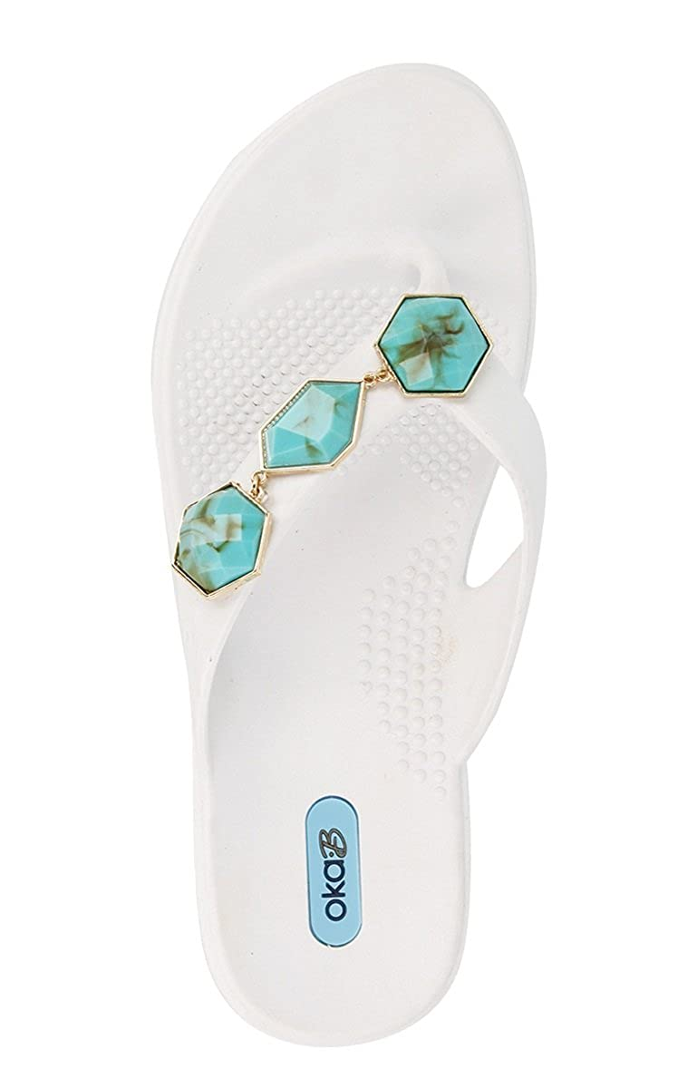 Winston Flip Flop Sandal Shoes Color Salt with Turquoise Strand by OkaB