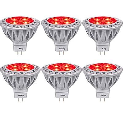 Red MR16 LED Light Bulbs with GU5.3 Base 50W Equivalent Halogen Replacement 5W 12V Bi-pin Spotlight 38 Deg Landscape Pool Step Lighting-6 Packs