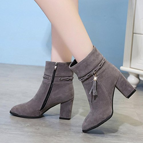 Shoes Women's Xjp Boots Zipper Mid Faux Autumn Heel Grey Chunky Suede Ankle 1xx0TqwB