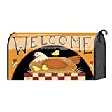 Welcome Folksy Hen and Baby Chicks 22 x 18 Standard Size Mailbox Cover