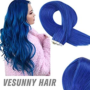 Sunny Tape in Human Hair Extensions Blue 100% Remy Human Hair Extensions 18inch 22inch 24inch Coloful Tape in Extensions…