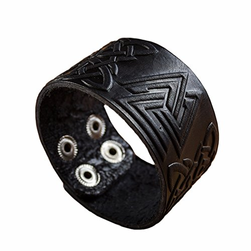 "Real Leather Viking Valknut Bracelet 6.3""- 7"" Wrist Adjustable Black Cuff Wrap Punk Wristband Stylish Accessory Gift Box from NOVA Leather Craft"