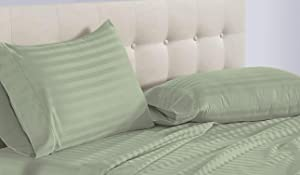 Divatex Home Fashions NG Linen 800 Thread Count Four (4) Piece King Size Sage Stripe Bed Sheet Set, 100% Egyptian Cotton, 17 Inch Deep Pocket