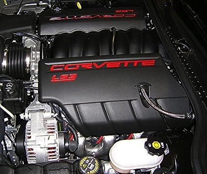 amazon.com: performance corvettes 2008-2013 corvette c6 ls3 fuel rail engine  covers black with red lettering oem gm: automotive  amazon.com