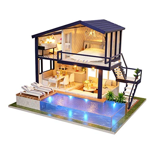 Dollhouse Pool - UniHobby DIY Miniature Dollhouse Kit Time Apartment DIY Dollhouse Kit with Wooden Furniture Light Gift House Toy