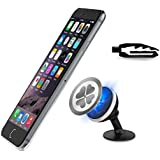 Iseason Car mount,Amazing Car Mount Holder Magnetic Cell Phone Holder for Car Dashboard Universal for iPhone 6s Plus 6s SE Samsung Galaxy S7 Edge S6 Note 5 (Black+Silver)