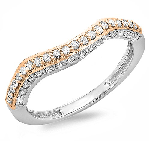(Dazzlingrock Collection 0.45 Carat (ctw) Two Tone Round Diamond Ladies Wedding Stackable Band Guard Ring 1/2 CT, Size 7.5)