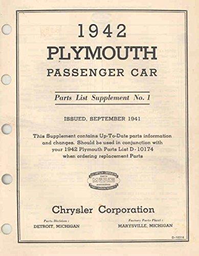 1942 Plymouth Passenger Car Parts List Supplement No 1