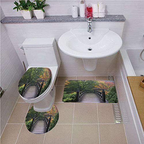 Bath mat Set Round-Shaped Toilet Mat Area Rug Toilet Lid Covers 3PCS,Nature,Wooden Bridge at Portland Japanese Garden Oregon in Foggy Autumnal Morning Park,Green Coral,Printed