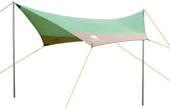GEERTOP Lona para Camping- Toldo Protector del Sol – Carpa Tarp Impermeable para Acampar, Compacta y Fuerte - 440 x 410 cm (2,1kg) - 4 a 7 Personas ...