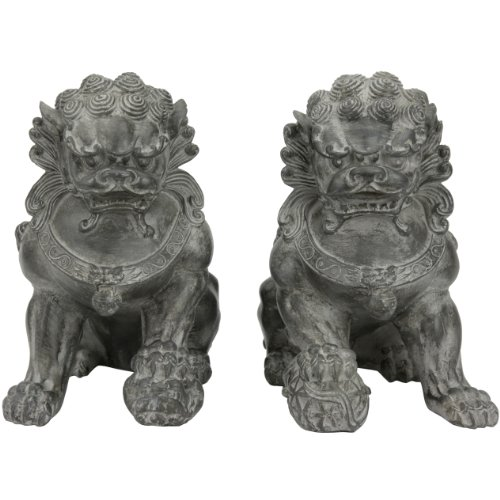 Oriental Furniture 9 Sitting Foo Dog Statues Set of Two B