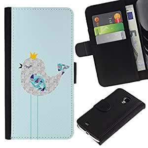 Billetera de Cuero Caso del tirón Titular de la tarjeta Carcasa Funda del zurriago para Samsung Galaxy S4 Mini i9190 MINI VERSION! / Business Style Cute Sleepy Drawing Art Polygon