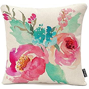 Throw Pillow Cover Flowers Watercolor Peonies Pink Turquoise Summer Girly Decorative Pillow Case Home Decor Square 18 x 18 Inch Pillowcase Cotton Linen