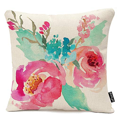 Throw Pillow Cover Flowers Watercolor Peonies Pink Turquoise Summer Girly Decorative Pillow Case Home Decor Square 18 x 18 Inch Pillowcase Cotton - Pillow Girly