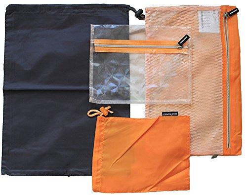 Price comparison product image IKEA UPPTÄCKA Case Set of 4 Travel Bag Organizer - Grey & Orange