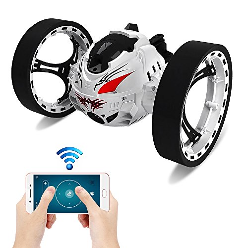 Kidshome 2.4GHz Jumping Car Wireless Remote Control Bounce Car with WiFi Function 80W Camera 360 Degree Rotation Music Playing Function Shockproof Rechargeable RC Car(White)