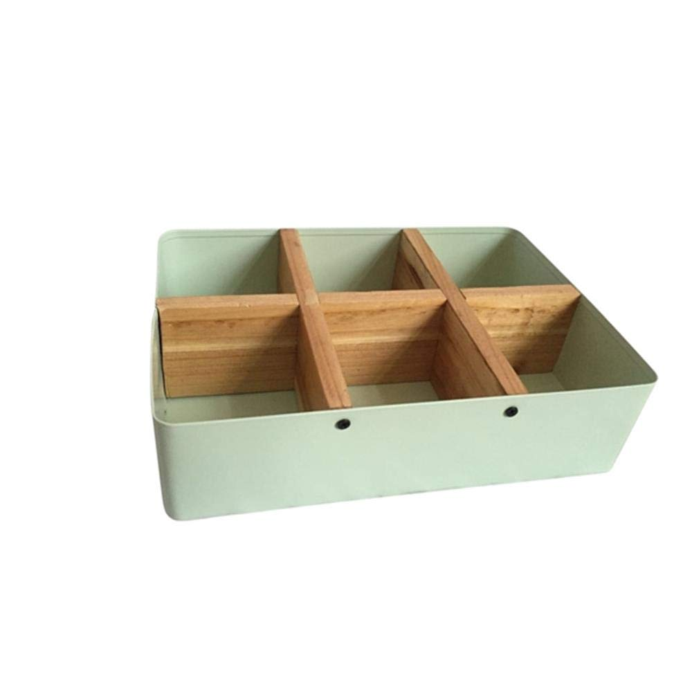 Sagebrook Home 12238-11 Metal & Wood Divided Tray, Lt. Green, 9.75 x 7 x 2.5 Inches