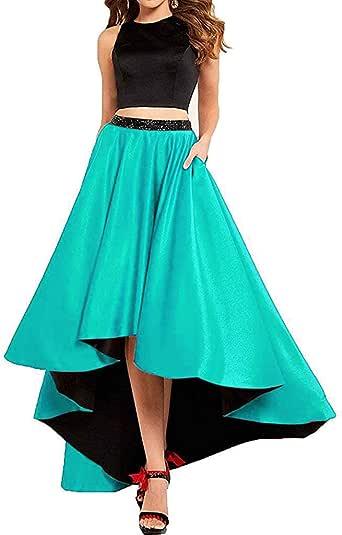 Amazon.com: Lady Dress Women's Two Piece Satin Prom