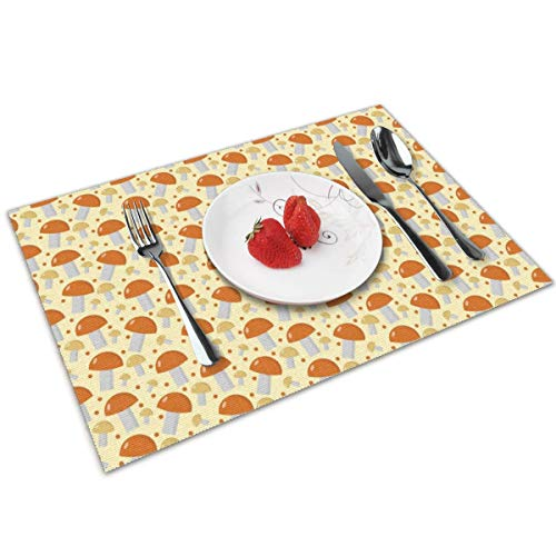 HNUIH Heat-Resistant Non-Slip Mushrooms Boletus Edulis Orange Placemats, Easy to Clean Stain Resistant Washable Placemat Set of 4
