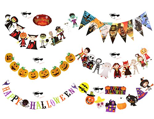 6 Set Halloween Paper Garlands Decoration Prop Pumpkin Spider Bat Ghost Skull Shape