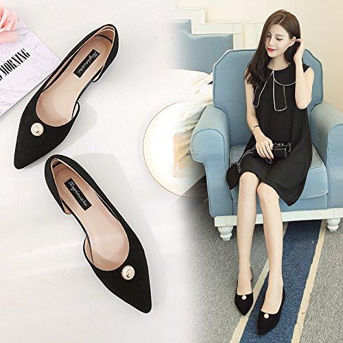 de Vacía Negro Zapatos Calzado Mujer con de luz Hembra Zapatos Solo Sandalias Punta Plano Bajos Qiqi con Wild Plana Xue qC1fTT