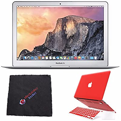 "Apple 13.3"" MacBook Air Laptop Computer MMGF2LL/A + 2 in 1 Soft-Touch Plastic Hard Case & Silicone Keyboard Cover for Apple Macbook Air 13-inch 13"" (Red) & MORE Bundle Kit"