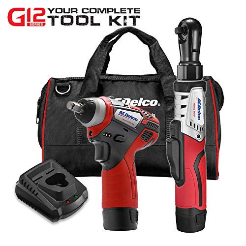 ACDelco G12 Series 2-Tool Combo Kit- 3/8 in. Brushless Ratchet Wrench + 3/8 in. Power Impact Wrench, two battery, charger, and canvas tool bag, ARW12103-K1