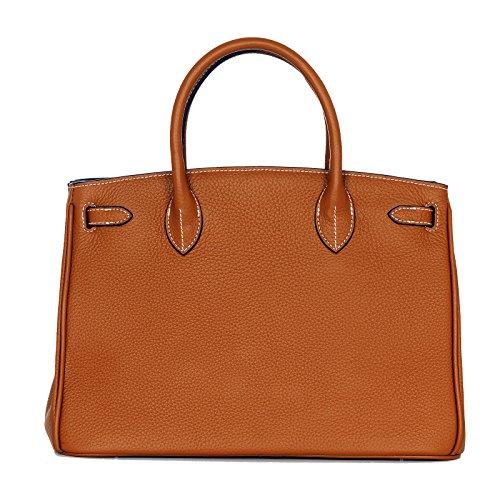 Letztes Modell // Rouven // Icone 35 Tote Bag // Matte Fauve Cognac Gold Braun // Gold // Damen Leder Tasche Shopper Handtasche // klein // edel chic klassisch (35x26x18cm)