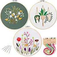 3 Pack Embroidery Starter Kit with Pattern,Kissbuty Full Range of Stamped Embroidery Kits with 3 Pcs Embroidery Cloth with Pattern,1 Pc Bamboo Embroidery Hoop,Color Threads Tools Kit