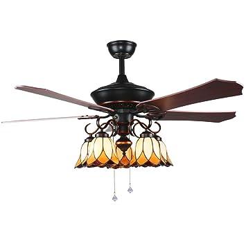 Andersonlight 5 Blade Five Light Tiffany Ceiling Fan With Brazilian  Cherry/Stained Oak Blades